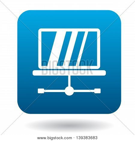 Tablet repair icon in simple style in blue square. Maintenance symbol
