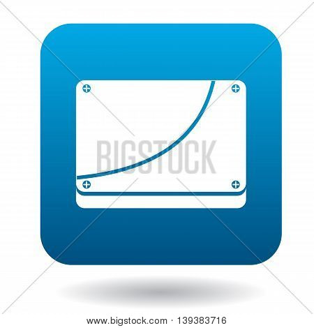 Case computer icon in simple style in blue square. Tehnique symbol