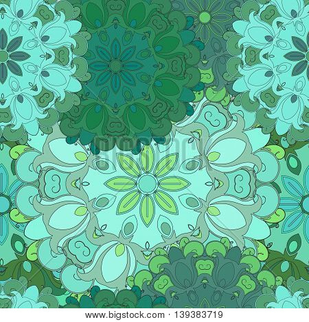 Emerald seamless pattern for oriental print or textil. Japanese designed flowered illustration. Eastern, indian, arabic, asian, turkish wrapping-paper or ethnic texture. Vector art for front-side.
