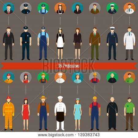 Profession people and avatars collection. Vector illustration