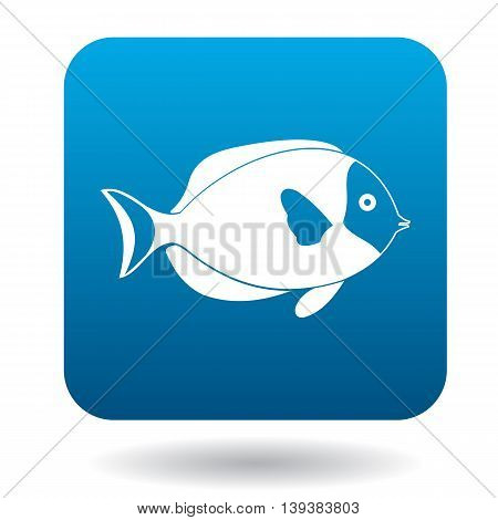Surgeon fish icon in simple style in blue square. Animals symbol