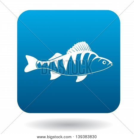 Perch fish icon in simple style in blue square. Animals symbol