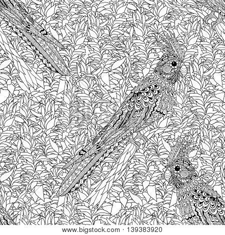 High detailed seamless pattern with bird in zentangle style. Adult coloring page with corella parrot for antistress art therapy. Zendoodle template for wrapping or scrapbook paper. Vector tile texture