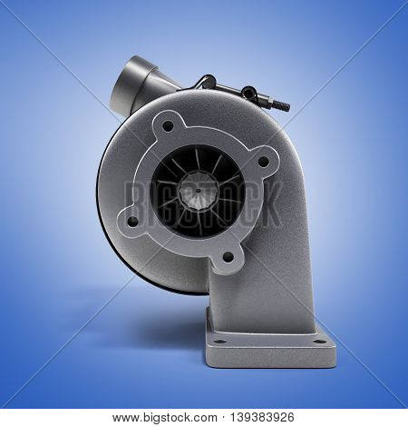 Automotive Turbocharger Turbine 3D Render On Blue Gradient