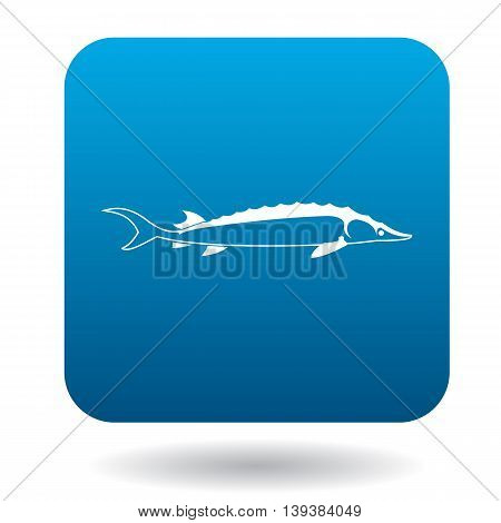 Stellate fish icon in simple style in blue square. Animals symbol