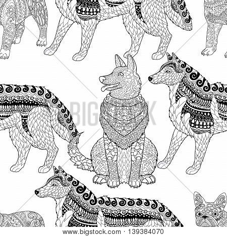 High detailed seamless pattern with pets in zentangle style. Adult coloring page with dogs for anti stress art therapy. Zendoodle template for wrapping or scrapbook paper. Vector.