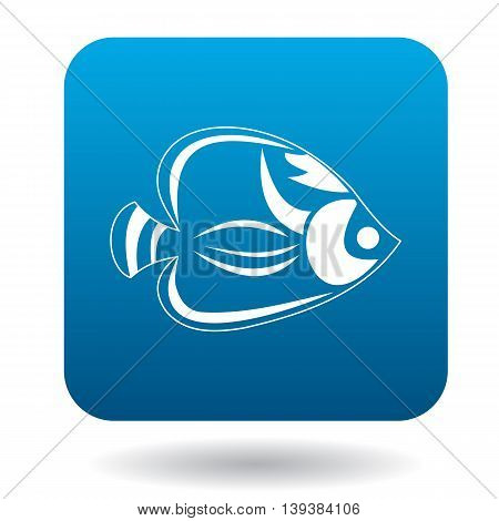 Fish tang icon in simple style in blue square. Animals symbol