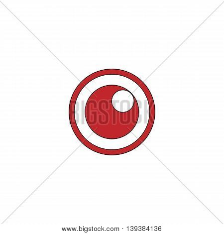 Apple of the eye. Red flat simple modern illustration icon with stroke. Collection concept vector pictogram for infographic project and logo
