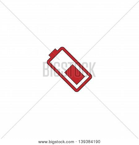 Battery. Red flat simple modern illustration icon with stroke. Collection concept vector pictogram for infographic project and logo