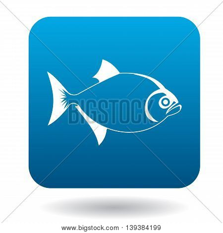 Vampire fish icon in simple style in blue square. Animals symbol