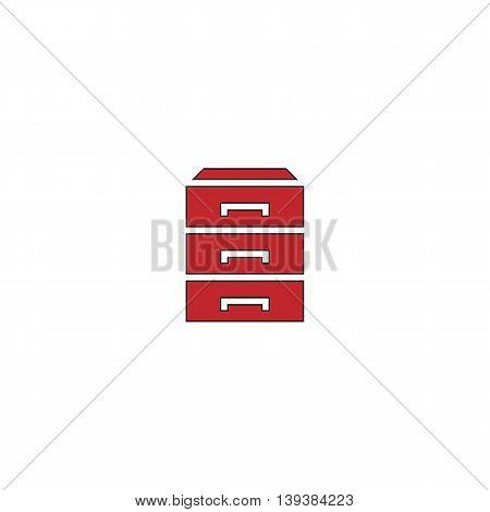 Chest of drawers. Red flat simple modern illustration icon with stroke. Collection concept vector pictogram for infographic project and logo