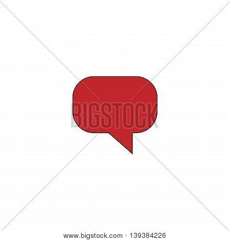 Quote. Red flat simple modern illustration icon with stroke. Collection concept vector pictogram for infographic project and logo