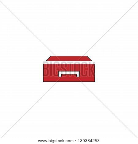 Drawer. Red flat simple modern illustration icon with stroke. Collection concept vector pictogram for infographic project and logo