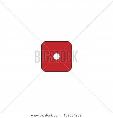 One dices - side with 1. Red flat simple modern illustration icon with stroke. Collection concept vector pictogram for infographic project and logo