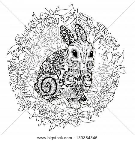 High detail patterned rabbit in zentangle style. Adult coloring page for antistress art therapy. Template for t-shirt, tattoo, poster or logo. Vector illustration.