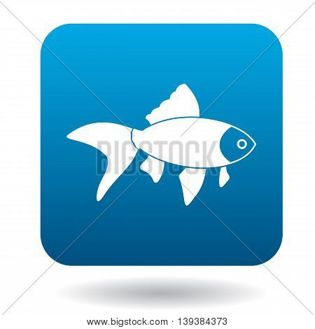 Goldfish icon in simple style in blue square. Animals symbol