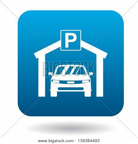Car parking icon in simple style in blue square. Transport and service symbol