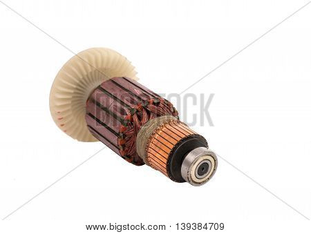 power Electric motor rotor isolated white background