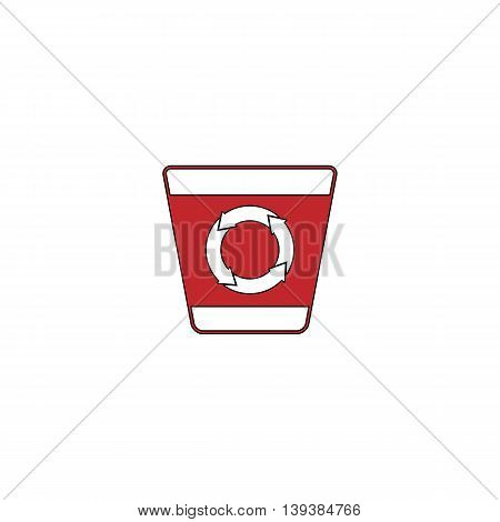 Recycle bin. Red flat simple modern illustration icon with stroke. Collection concept vector pictogram for infographic project and logo
