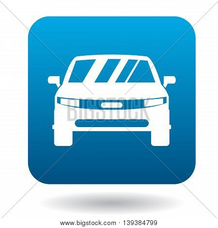 Parked car icon in simple style in blue square. Transport and service symbol