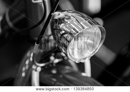 Black And White Bike Detail. Modern Good Looking Bicycle With Gray Light (studio Shot Focus)..
