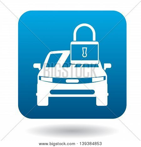 Arrested car icon in simple style in blue square. Transport and service symbol