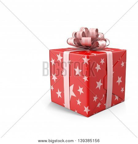 A beautifully decorated and tied with a ribbon box with a gift for the holiday celebration anniversary. Presents on a white background.