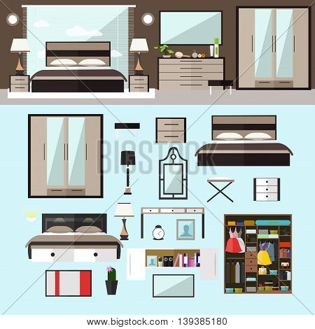 Bedroom interior in flat style. Vector illustration. House room design elements and icons.