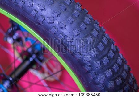 Closeup View Of Bike Wheel. Detail With Bike Wheel Over Colorful Background. .