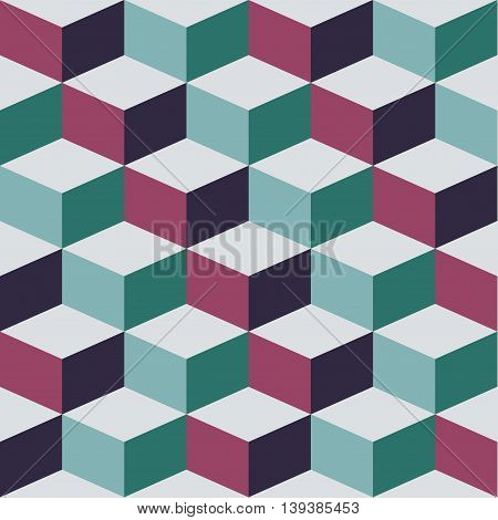 Seamless pattern with cube, vector abstract illustration