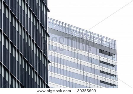 Image With Building Windows. Isolated Horizontal View Of Modern Commercial Office Building With Vert