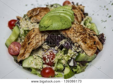 Avocado chicken salad served on a plate