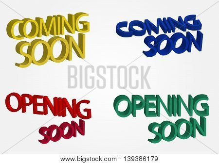 Coming soon 3 d text isolated on white