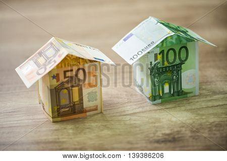 Money Houses Built Of Euro Banknotes