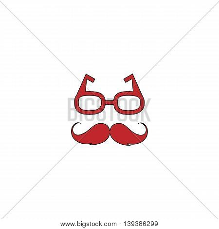 Nerd glasses and mustaches. Red flat simple modern illustration icon with stroke. Collection concept vector pictogram for infographic project and logo