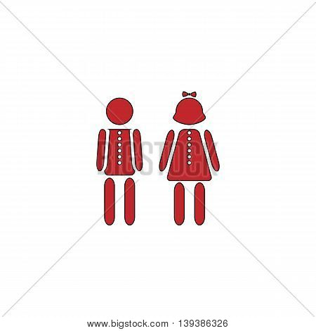 Simple Boy and Girl. Red flat simple modern illustration icon with stroke. Collection concept vector pictogram for infographic project and logo
