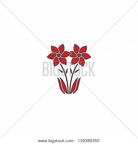 Spring flowers growing. Red flat simple modern illustration icon with stroke. Collection concept vector pictogram for infographic project and logo