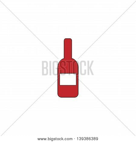 Bottle with label. Red flat simple modern illustration icon with stroke. Collection concept vector pictogram for infographic project and logo