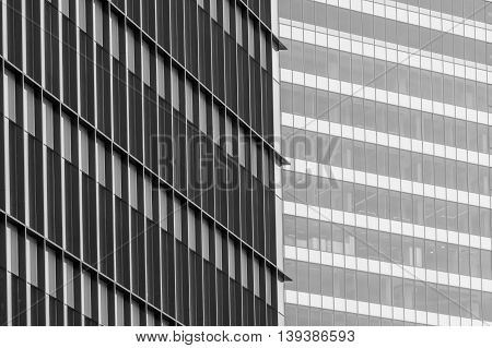 Horizontal Background With Building Windows. Close Up Architecture Abstracts From Office Buildings I