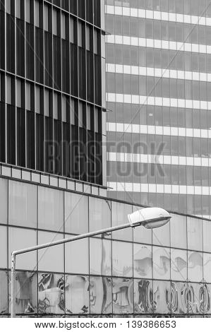 Vertical Background With Building Windows. Black And White Architecture Abstracts From Office Buildi