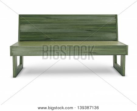 Wooden bench on the white 3d render