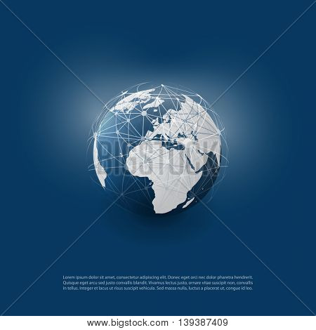 Cloud Computing and Networks with Globe - Abstract Global Digital Network Connections, Technology Concept Background, Creative Design Element Template with  Wire Mesh Around Earth
