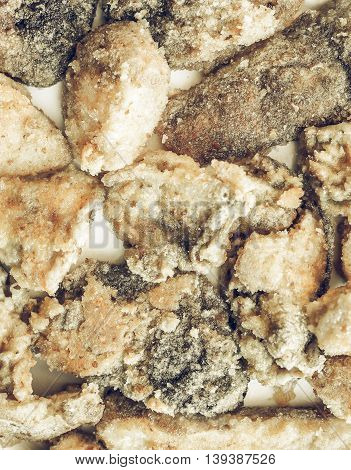 Fried Porcini Mushrooms Vintage Desaturated