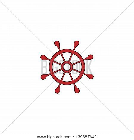 Simple rudder. Red flat simple modern illustration icon with stroke. Collection concept vector pictogram for infographic project and logo