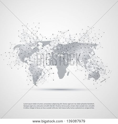 Abstract Cloud Computing and Network Connections Concept Design with Transparent Geometric Mesh and World Map - Illustration in Editable Vector Format