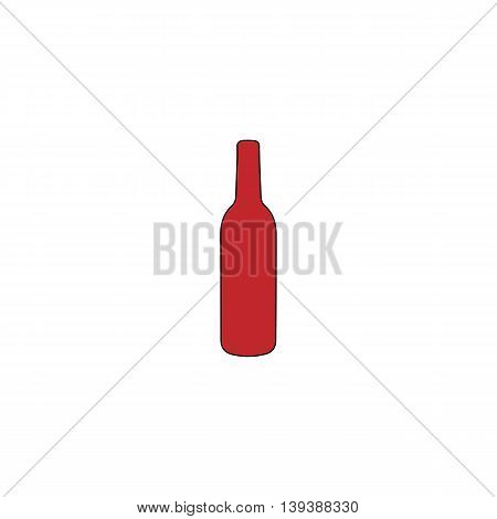 Liquor bottle. Red flat simple modern illustration icon with stroke. Collection concept vector pictogram for infographic project and logo