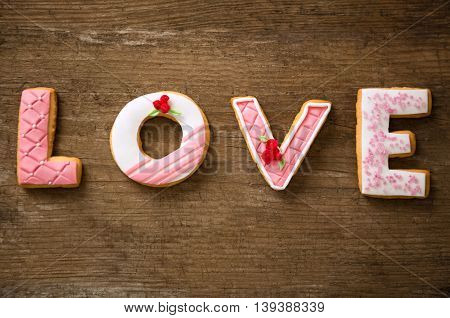 Valentine cookies on wooden desk, holiday concept
