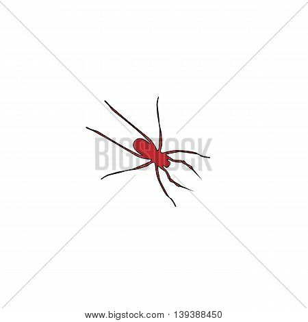 Spider. Red flat simple modern illustration icon with stroke. Collection concept vector pictogram for infographic project and logo