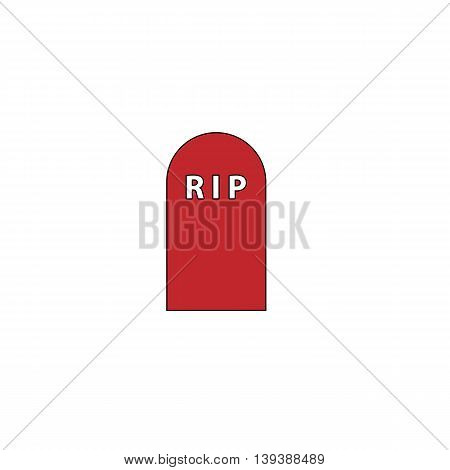 Grave. Red flat simple modern illustration icon with stroke. Collection concept vector pictogram for infographic project and logo