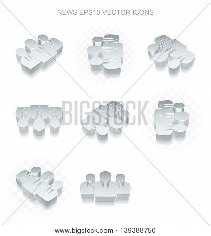 News icons set: different views of flat 3d metallic Business People icon with transparent shadow on white background, EPS 10 vector illustration.